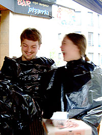 bin bags as rain coats