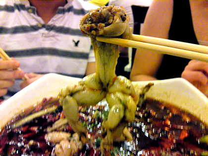 frog with chop sticks